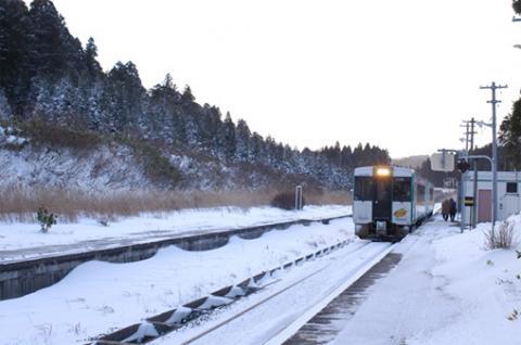 陸羽東線堺田駅の防雪林